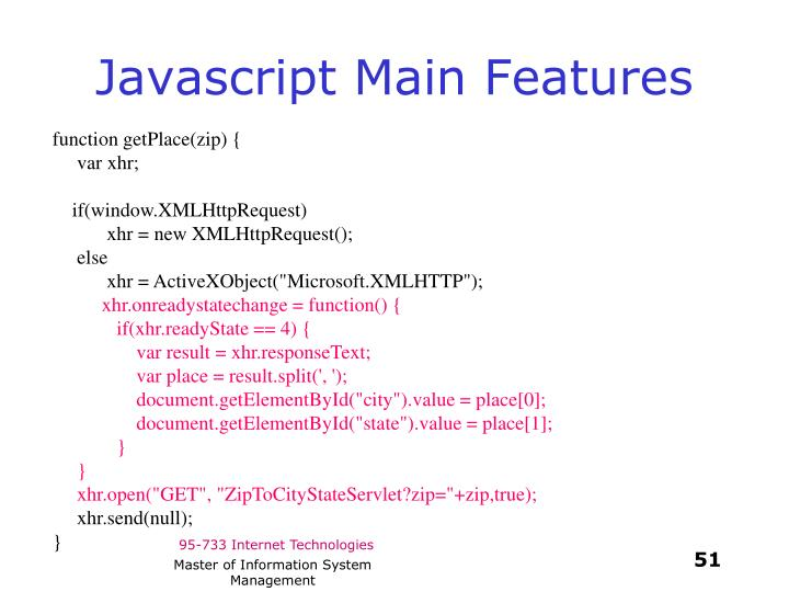 Javascript Main Features