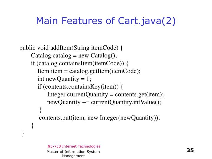 Main Features of Cart.java(2)