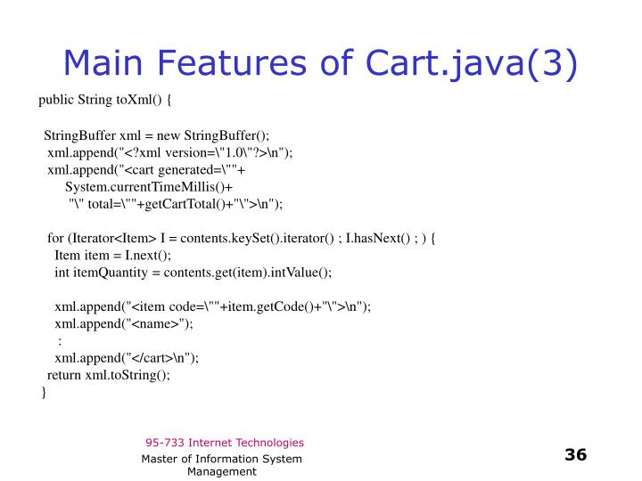 Main Features of Cart.java(3)