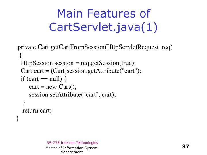 Main Features of CartServlet.java(1)