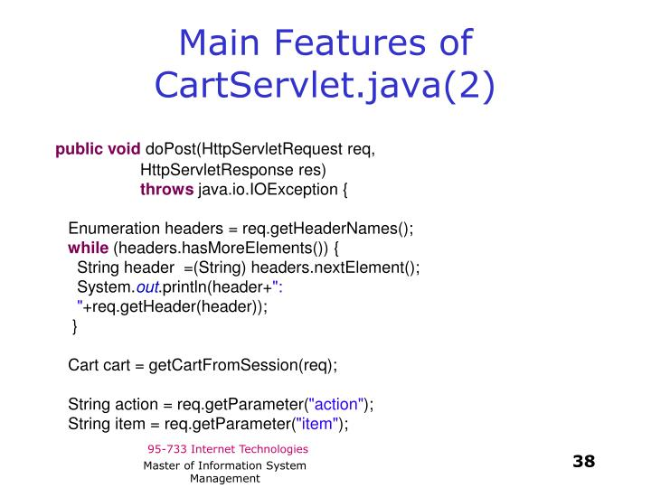 Main Features of CartServlet.java(2)