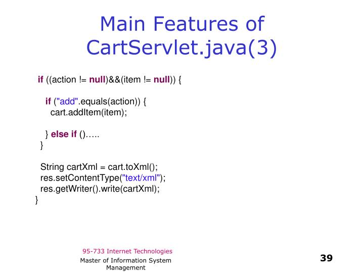 Main Features of CartServlet.java(3)