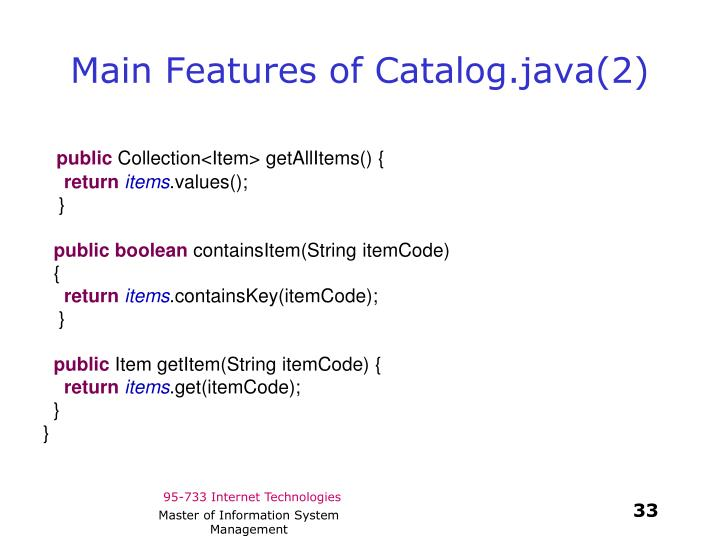 Main Features of Catalog.java(2)