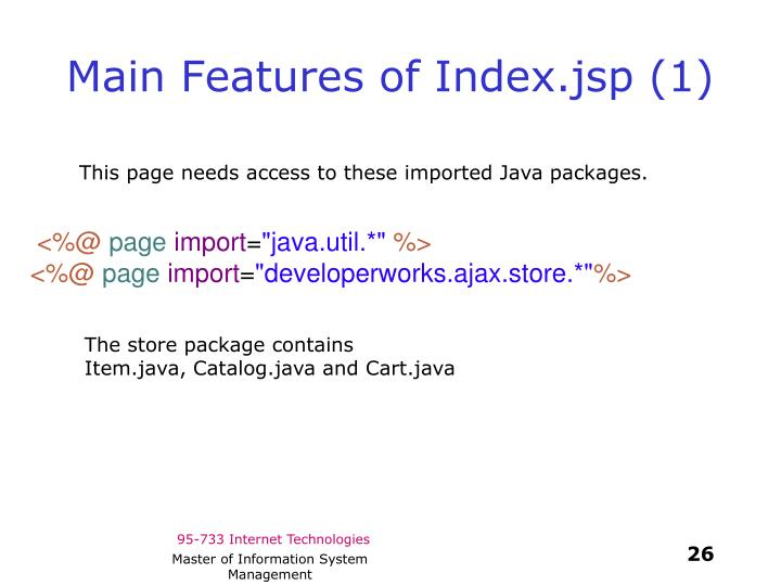 Main Features of Index.jsp (1)