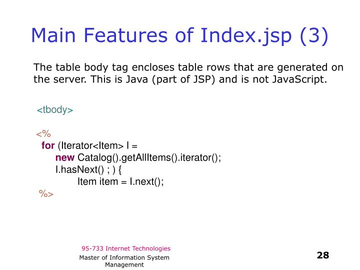 Main Features of Index.jsp (3)