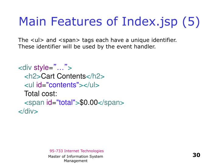 Main Features of Index.jsp (5)