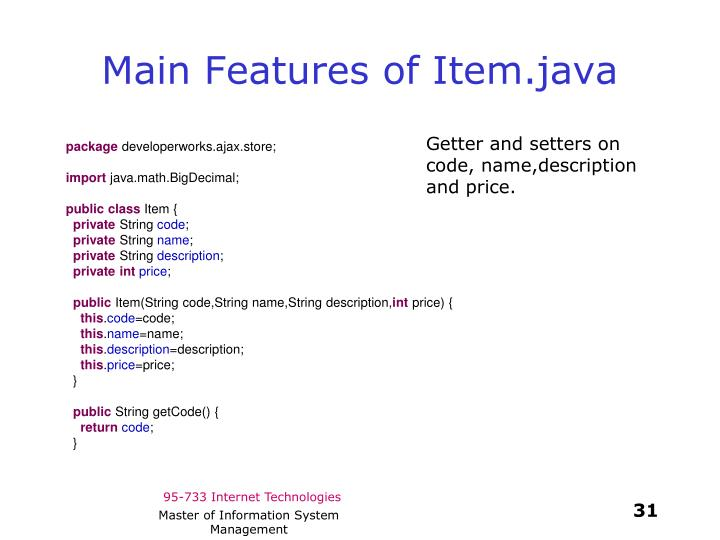 Main Features of Item.java