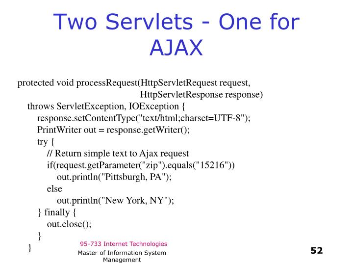 Two Servlets - One for AJAX