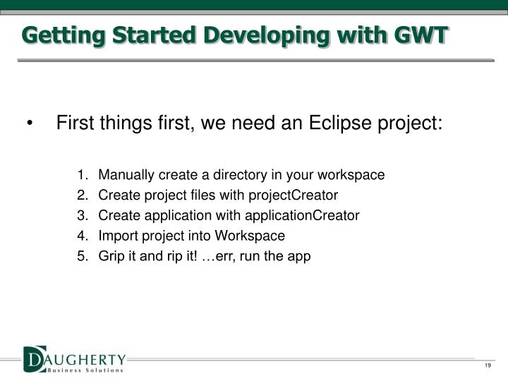 Getting Started Developing with GWT