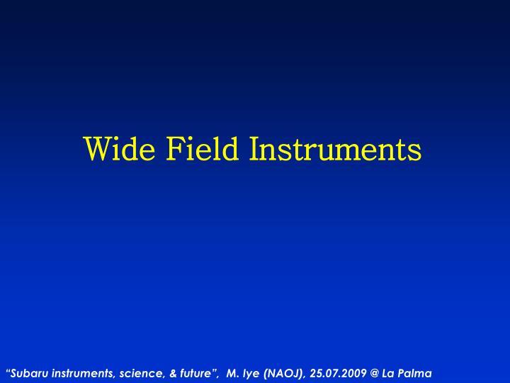 Wide Field Instruments