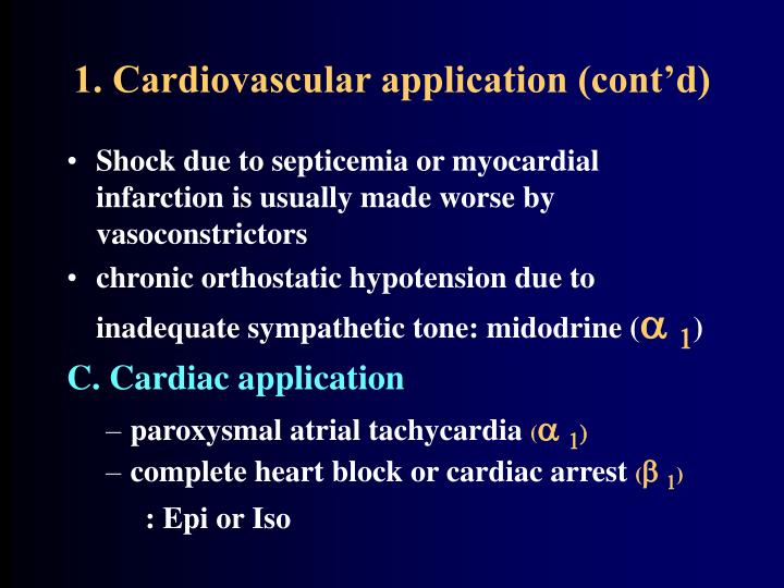 1. Cardiovascular application (cont'd)