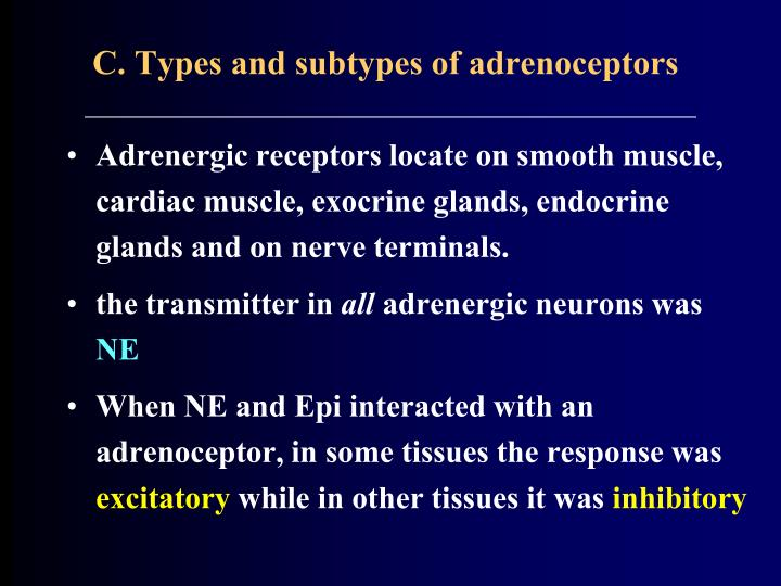 C. Types and subtypes of adrenoceptors