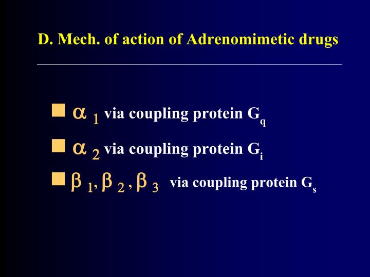 D. Mech. of action of Adrenomimetic drugs