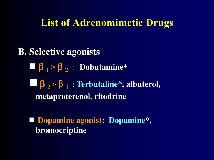 List of Adrenomimetic Drugs