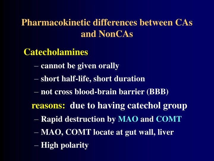 Pharmacokinetic differences between CAs and NonCAs