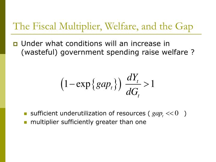 The Fiscal Multiplier, Welfare, and the Gap