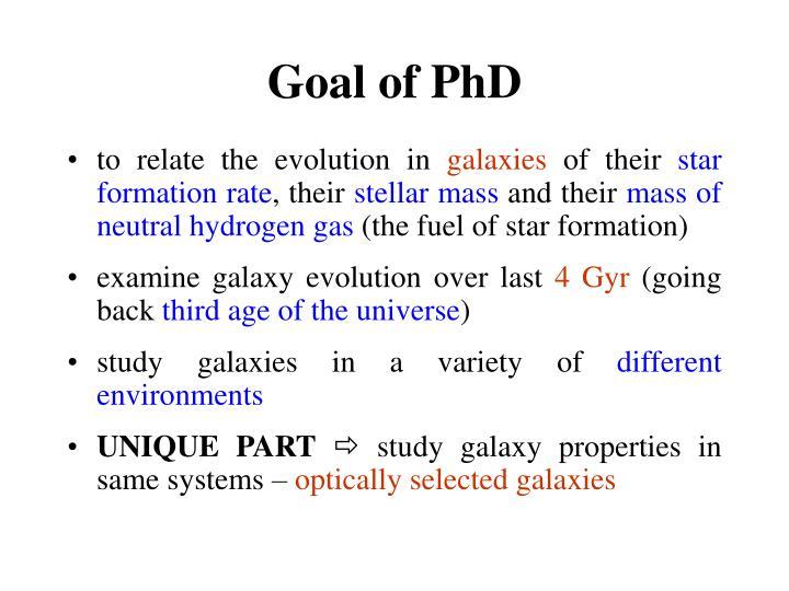 Goal of PhD