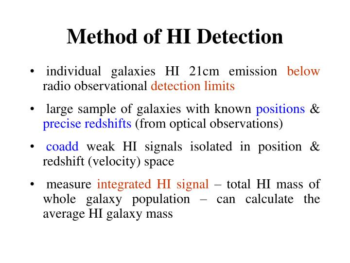 Method of HI Detection