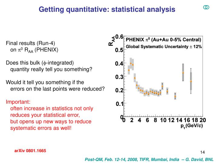 Getting quantitative: statistical analysis