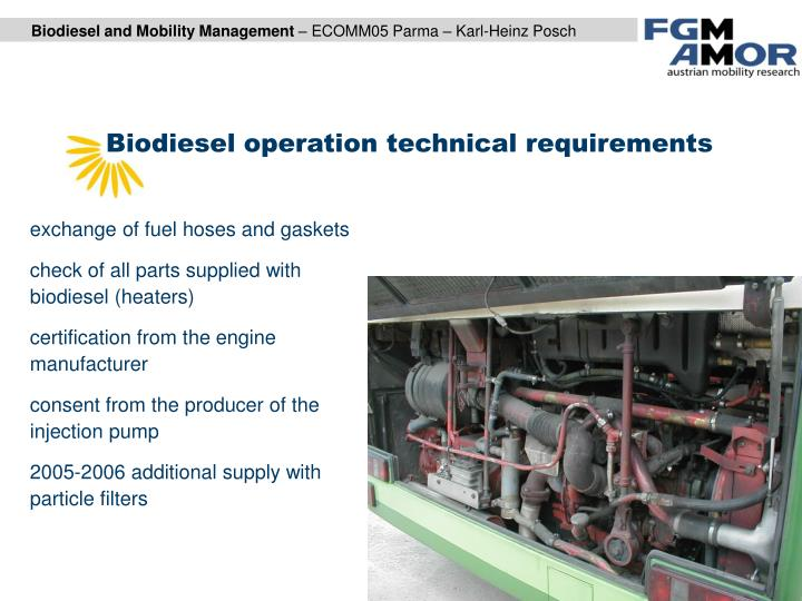 Biodiesel operation technical requirements