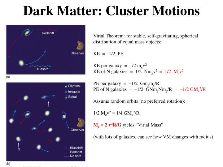 Dark Matter: Cluster Motions