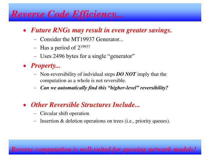 Reverse Code Efficiency...