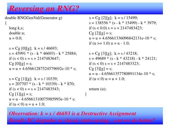 Reversing an RNG?