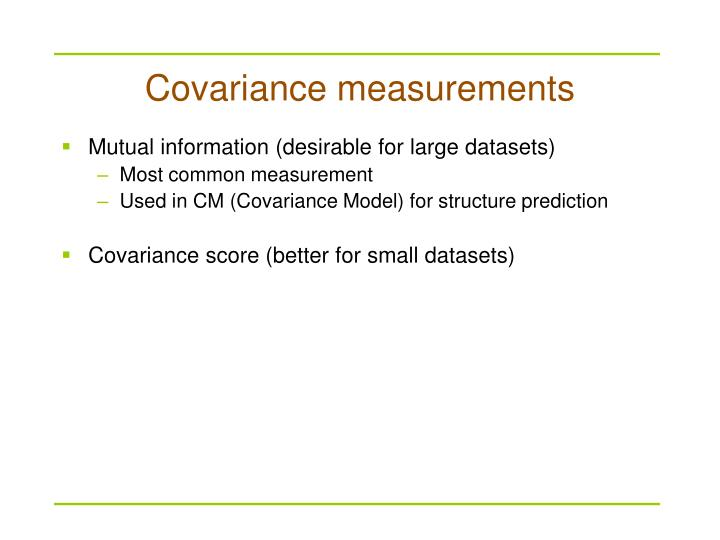 Covariance measurements
