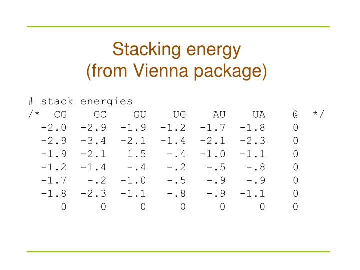 Stacking energy