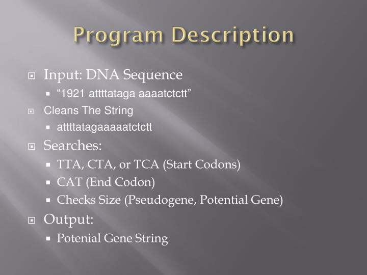 Input: DNA Sequence
