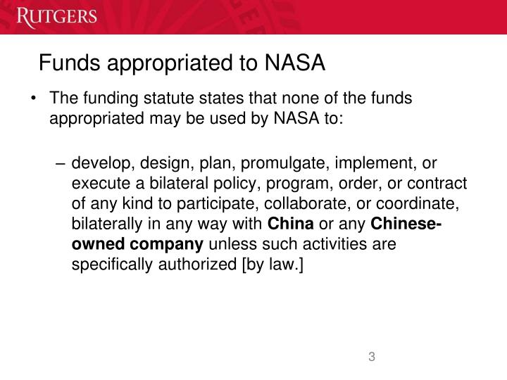 Funds appropriated to NASA