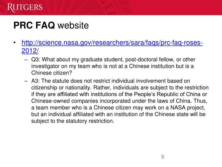 PRC FAQ