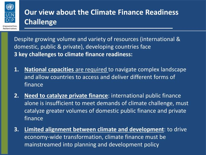 Our view about the Climate Finance Readiness Challenge