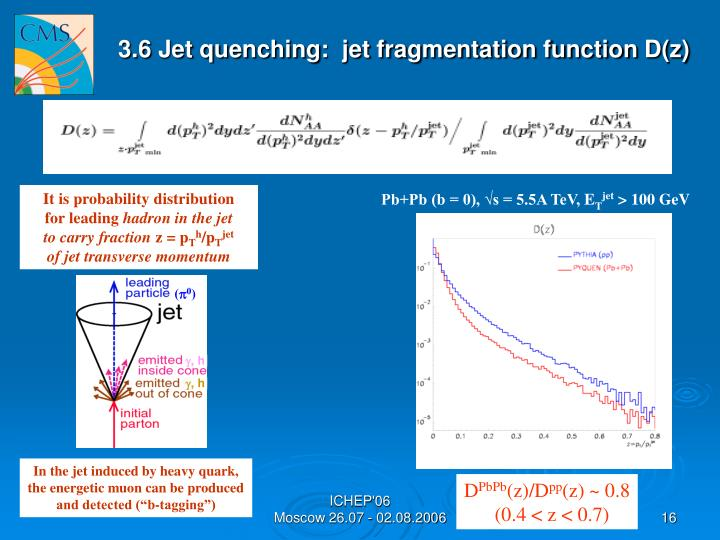 3.6 Jet quenching:  jet fragmentation function