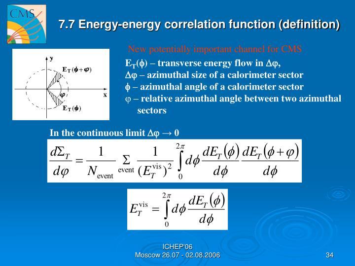 7.7 Energy-energy correlation function (definition)