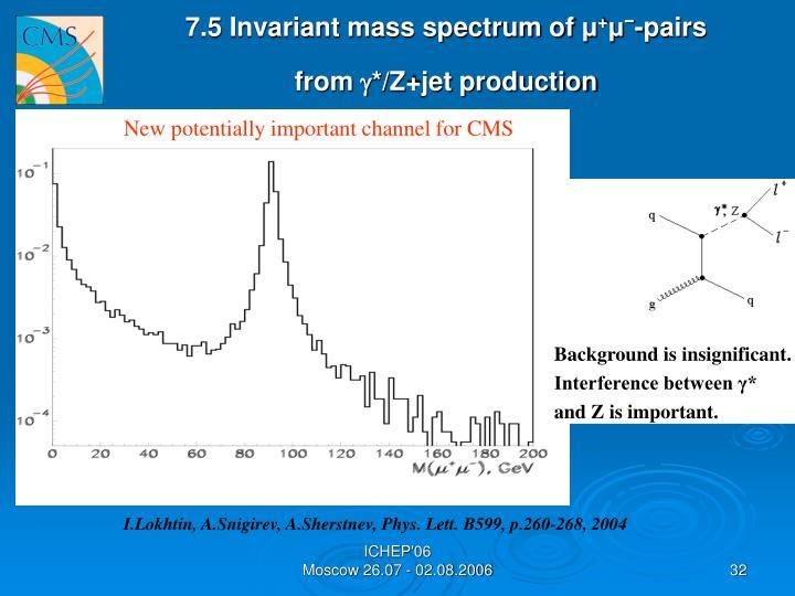 7.5 Invariant mass spectrum of
