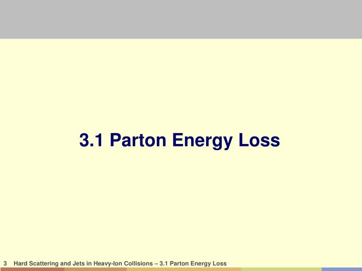 3.1 Parton Energy Loss