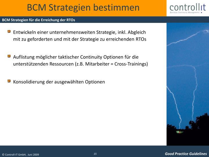 BCM Strategien bestimmen