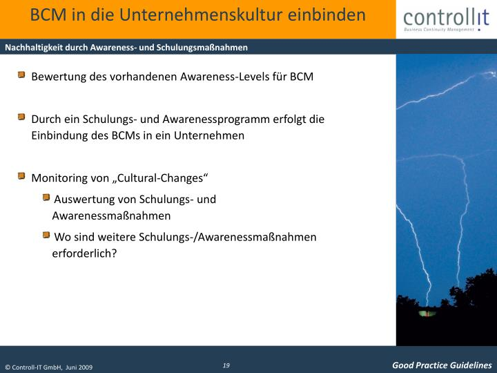 BCM in die Unternehmenskultur einbinden