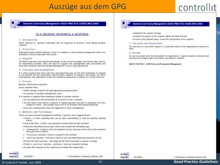 Auszüge aus dem GPG