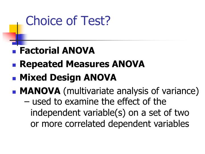 Choice of Test?