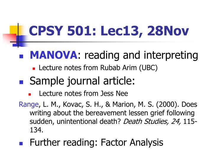 CPSY 501: Lec13, 28Nov