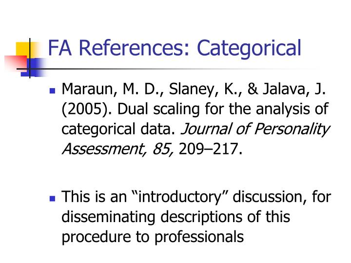 FA References: Categorical