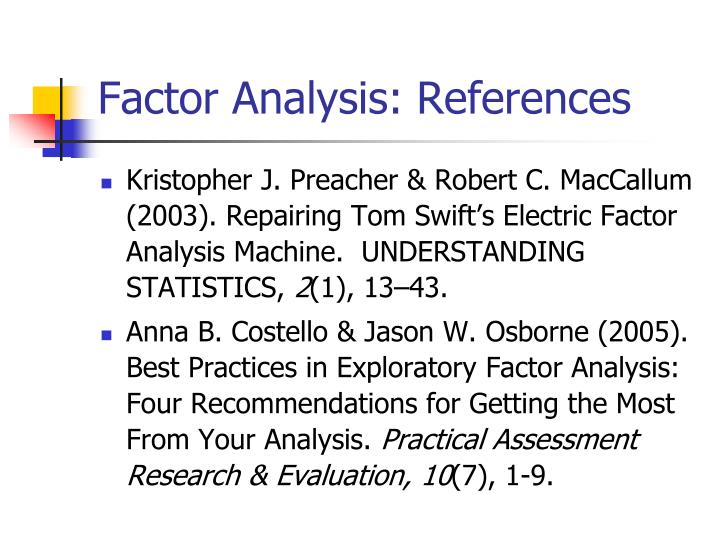 Factor Analysis: References