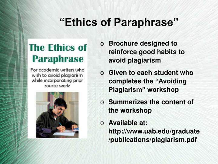 """Ethics of Paraphrase"""