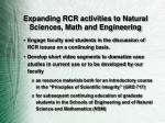 expanding rcr activities to natural sciences math and engineering