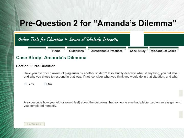 "Pre-Question 2 for ""Amanda's Dilemma"""