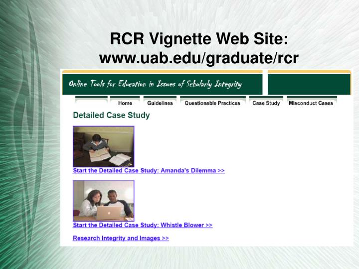 RCR Vignette Web Site: