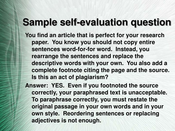 Sample self-evaluation question