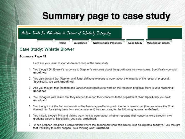 Summary page to case study